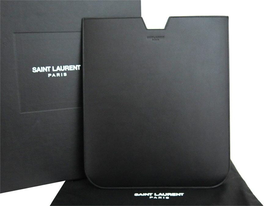 【美品】サンローラン SAINT LAURENT タブレットケース ブラック レザー メンズ iPadケース 美品 おすすめ【中古】 - e29311