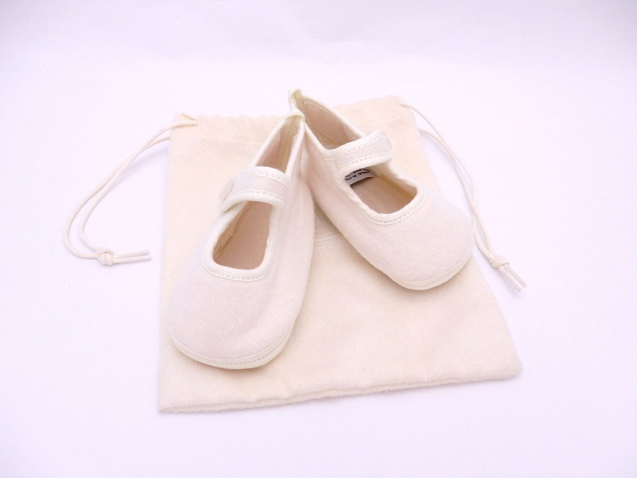 エルメス HERMES 靴 アダダ ホワイト ウール65%xアンゴラ35% ベビーシューズ ファーストシューズ レディース メンズ 【中古】【定番人気】 - e32378