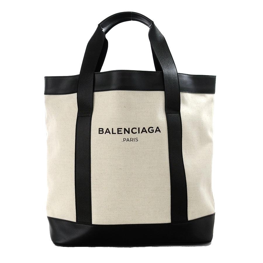 バレンシアガ トートバッグ ネイビートート ブラックxホワイトxシルバー金具 キャンバスxレザー BALENCIAGA レディース メンズ 374767 送料無料【中古】【おすすめ】 - i0024