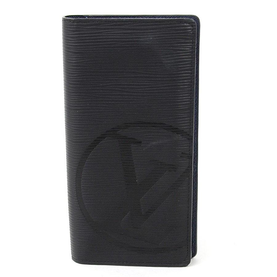 【美品】ルイヴィトン 二つ折り長財布 エピ ポルトフォイユ ブラザ LVサークル ブラックx(内側)ネイビー エピレザー Louis Vuitton メンズ M63511 送料無料【中古】 - 95352