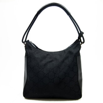 Gucci GUCCI shoulder bag GG pattern ◆ black canvas x leather ◆ constant seller popularity ◆ Lady's - h14000