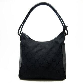 古驰GUCCI挎包GG花纹◆黑色帆布x皮革◆经典的受欢迎的◆女士-h14000