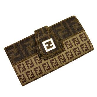 芬迪FENDI W挂钩对开长钱包zukka◆棕色派帆布x皮革◆经典的受欢迎的◆女士-h15078