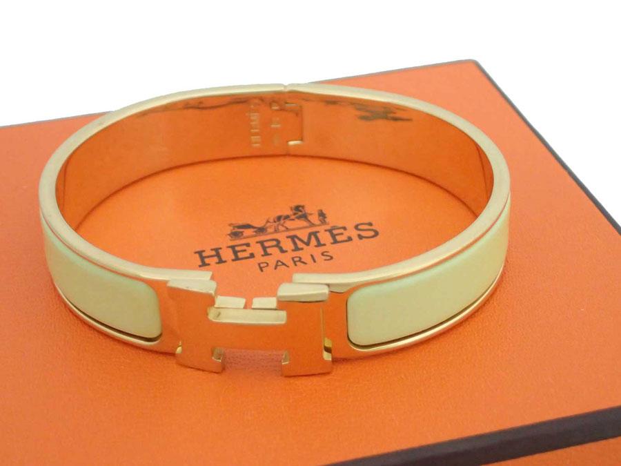 エルメス HERMES バングル クリッククラック ライトイエローxゴールド金具 エナメルx金属素材 ブレスレット ゴールドブレス レディース 【中古】【おすすめ】 - e34068