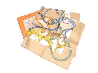 Hermes HERMES scarf Par Mefsire ANTOINE DE PLVVINEL Efcuyer principal de fa Majefte white x blue x gold silk 100% silk scarf large size scarf Lady's men - e34117
