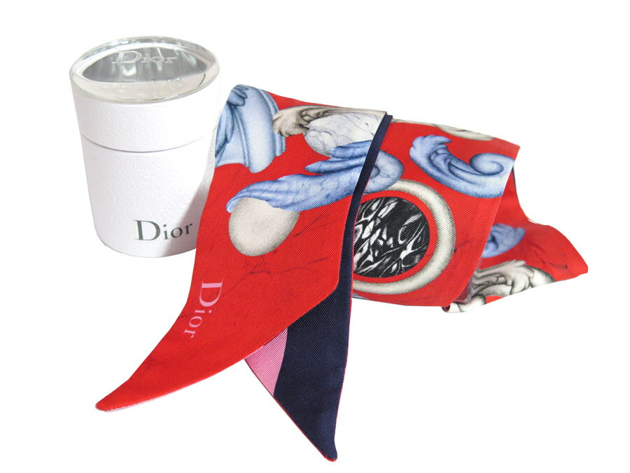 クリスチャンディオール Christian Dior ミッツァ Mitzah ABCDior イニシャルX スカーフ リボンスカーフ ツイリー マルチカラー 100%シルク レディース 送料無料【中古】【定番人気】- e34326