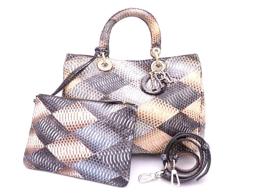 クリスチャンディオール Christian Dior 2Wayバッグ カナージュ ベージュxブルーxブラウンxゴールド金具 パイソンレザーx金属素材 ハンドバッグ ショルダーバッグ レディース 【中古】【おすすめ】 - e34795