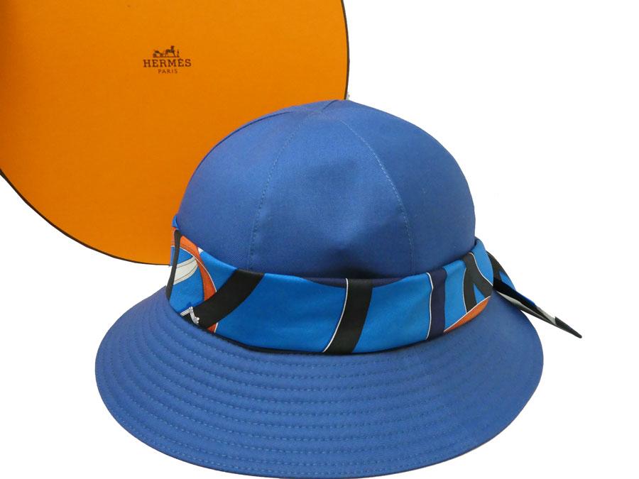 エルメス HERMES 帽子 シルクリボン ブルーxオレンジxホワイト 52% ポリエステルx28% レーヨンx20% ポリウレタンx100% シルク ハット チューリップハット レディース 【中古】【おすすめ】 - e34711