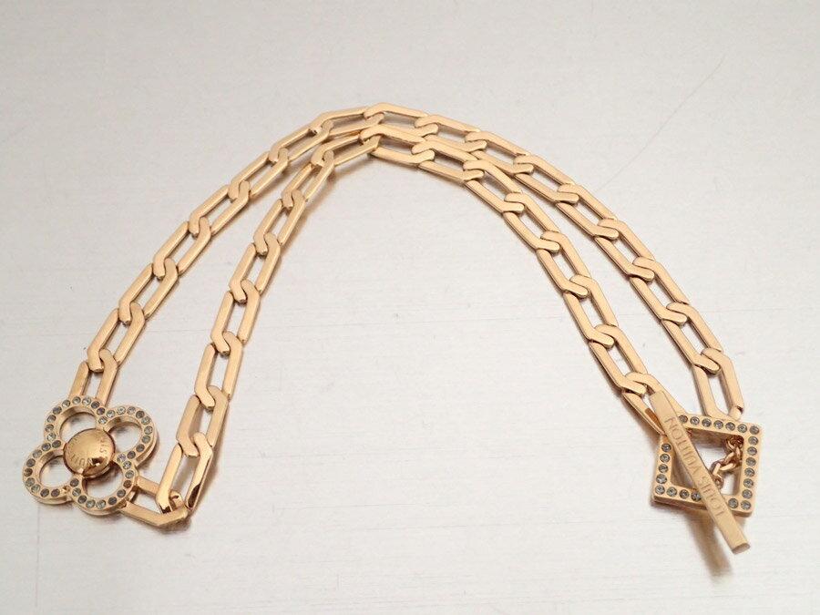 ルイヴィトン Louis Vuitton ネックレス コリエ フラワーパワー ゴールド 金属素材xラインストーン チェーンネックレス ゴールドネックレス レディース M66092 【中古】【定番人気】 - e34980