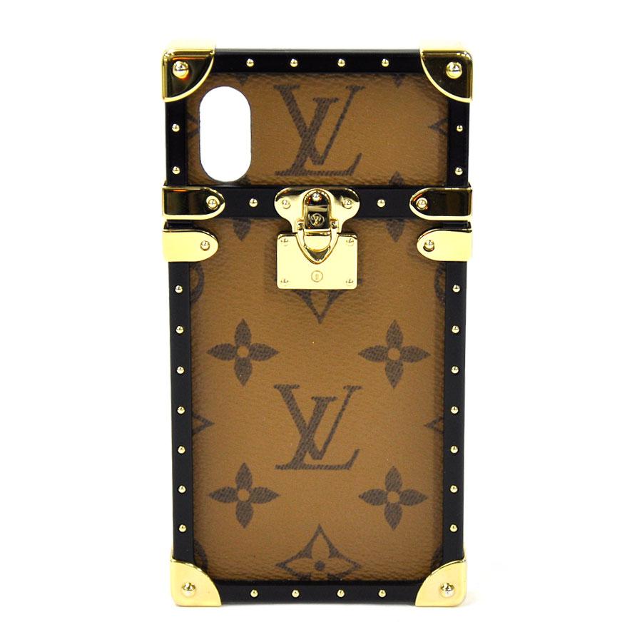 【展示品】ルイヴィトン iPhone X ケース モノグラム・リバース アイ・トランク IPHONE X &XS ブラウンxゴールド金具 モノグラムキャンバスxプラスチック LOUIS VUITTON レディース メンズ M62619 送料無料【中古】 - i0182