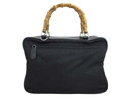 古馳Gucci包竹子黑色x銀子金屬零件尼龍x專利皮革手提包吊帶漏件女士[中古][推薦]-e35249