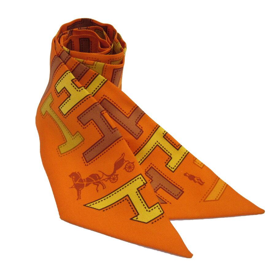 エルメス HERMES ツイリー リボンスカーフ オレンジ シルク100% レディース 【中古】【定番人気】 - h18699