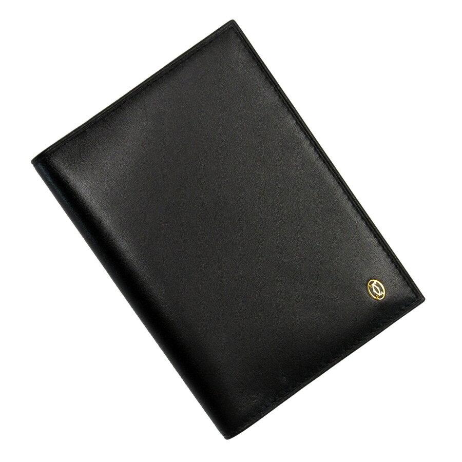 カルティエ Cartier 手帳カバー ブラックxゴールド レザー レディース 【中古】【定番人気】 - 89465