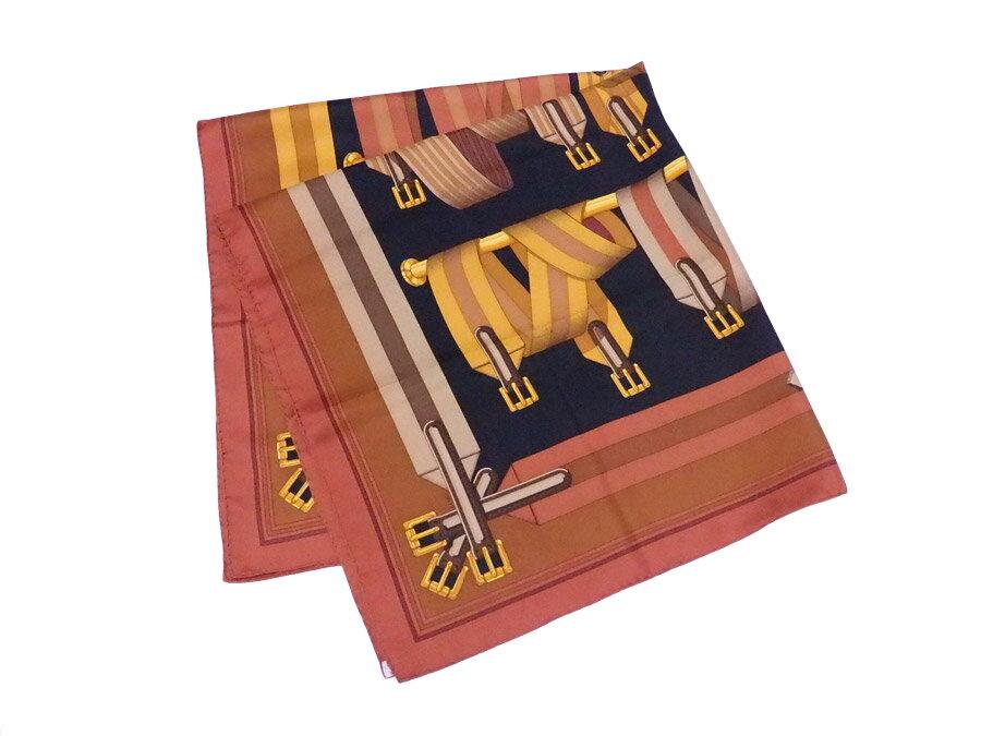 【美品】エルメス HERMES スカーフ カレ 90 ブラウンxブラック 100% シルク シルクスカーフ 大判スカーフ レディース メンズ 【中古】 - e36009