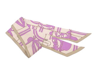 Hermes HERMES スカーフツイリーベージュ x light purple 100% silk ribbon scarf silk scarf Lady's - e36178