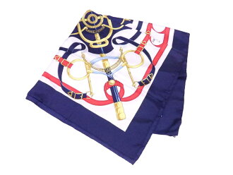 Hermes HERMES scarf boyfriend 90 Eperon D'Or white x navy x multicolored 100% silk large size scarf silk scarf Lady's men - e36470