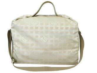 香奈爾CHANEL 2Way包新旅行淺駝色x銀子金屬零件帆布x皮革寬底旅行皮包旅行包女士人-e36066