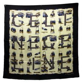 セリーヌ CELINE スカーフ ブラックxベージュ系 100% シルク レディース 【中古】【定番人気】 - h21438