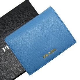 プラダ PRADA 二つ折り財布 ブルーxゴールド レザー 【中古】【定番人気】 - h26531f