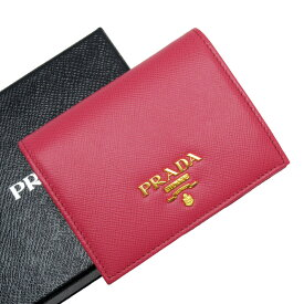 【美品】プラダ PRADA 二つ折り財布 ピンク系xゴールド サフィアーノレザー 【中古】 - h26751f