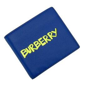 【美品】バーバリー BURBERRY 二つ折り札入れ ブルーxイエローxブラック レザー 【中古】 - h27017f