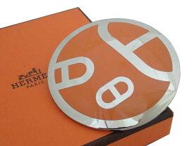 エルメス HERMES スカーフリング シルバーxオレンジ 金属素材xエナメル スカーフピン チャーム レディース メンズ 【中古】【おすすめ】 - e38353
