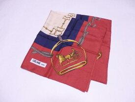 セリーヌ CELINE スカーフ ホースビット レッドxマルチカラー 100% シルク 【中古】【おすすめ】 - e37081