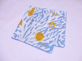 セリーヌ CELINE スカーフ ライトブルーxゴールド 100% シルク 【中古】【定番人気】 - e37082