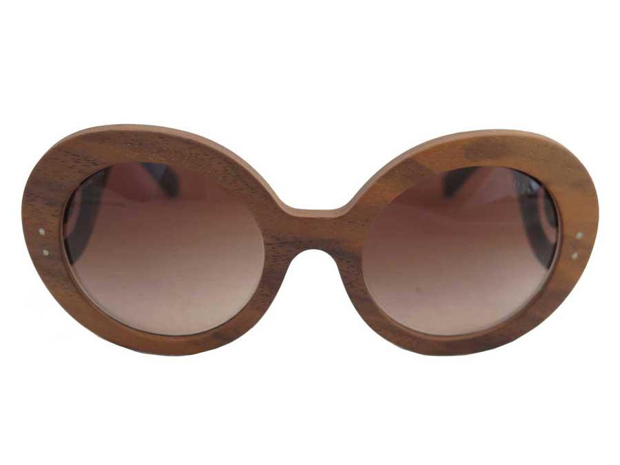 プラダ PRADA サングラス ロゴ ブラウンxブラック ウッドxプラスチック ファッションサングラス ウッドグラス レディース 【中古】【おすすめ】 - e38569