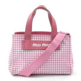 ミュウミュウ ハンドバッグ ショルダーバッグ 2Wayバッグ CANAPA ROSA(ピンク) キャンバス xレザー MIUMIU レディース 5BA085 送料無料【中古】【定番人気】 - 96616