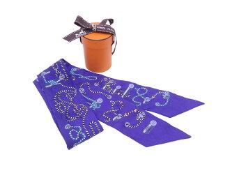 Hermes HERMES スカーフツイリーパープルブルー x multicolored 100% silk ribbon scarf Lady's - e38612
