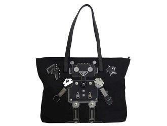 Prada PRADA bag robot black x silver metal fittings nylon x leather shoulder bag tote bag Lady's - e41802