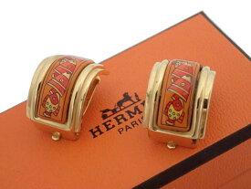 エルメス HERMES イヤリング 七宝焼き ゴールドxオレンジ 金属素材xエナメル ゴールドイヤリング クリップイヤリング レディース 【中古】【おすすめ】 - e44309d