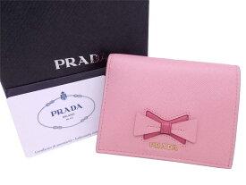 【美品】プラダ PRADA 二つ折り財布 ロゴ ピンク レザーxゴールド金具 レディース 1MV204 送料無料【中古】 - e48065f