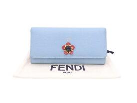 フェンディ FENDI 長財布 ライトブルー レザーxゴールド金具 二つ折り長財布 レディース 送料無料【中古】【おすすめ】 - e46156e