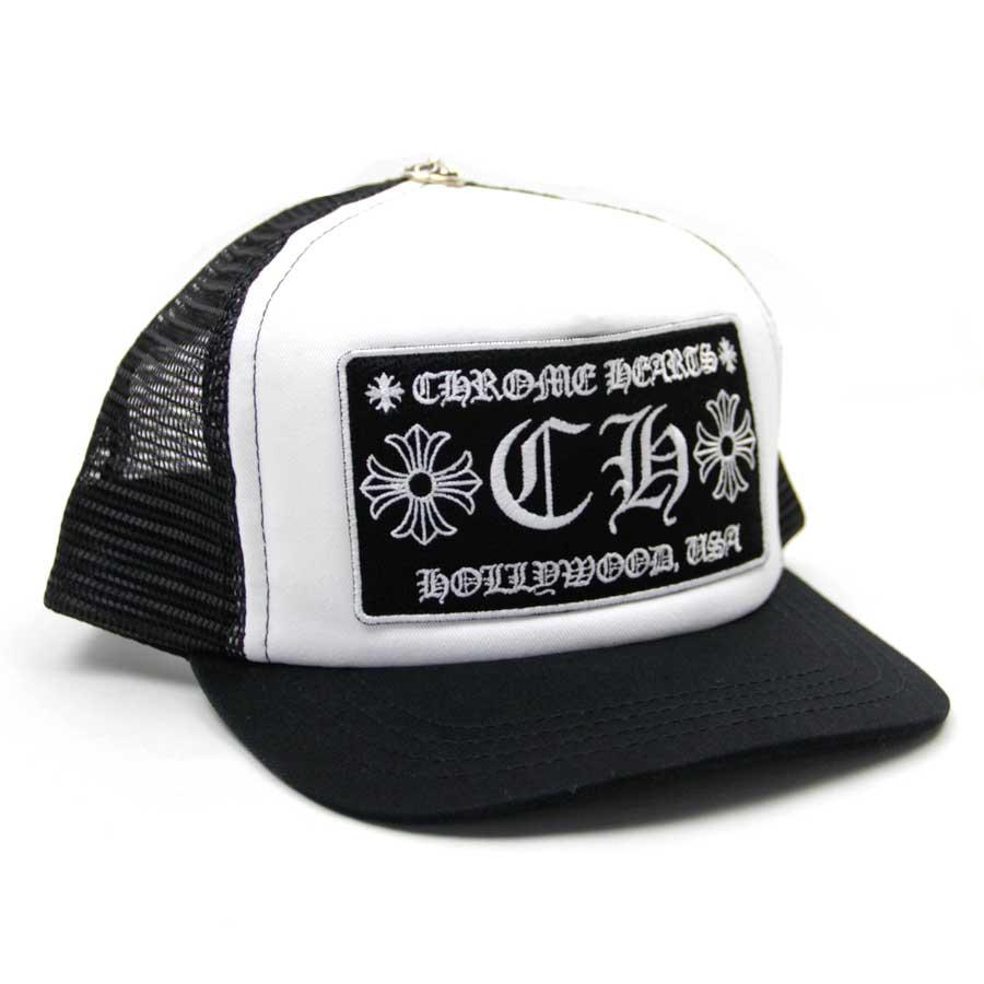 【新品】クロムハーツ Chrome Hearts 小物(アパレル系) トラッカーキャップ CHプラス ブラックxホワイト コットンxポリエステルxシルバー925 帽子 トラッカーキャップ メンズ 【セール】 - v40148