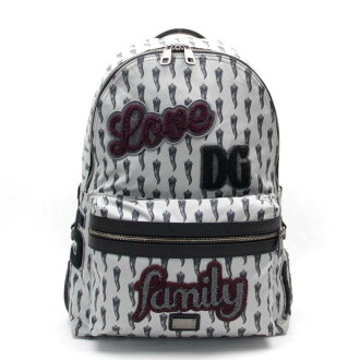 Dolce & Gabbana DOLCE&GABBANA バッグコルノ pattern logo applique light gray system nylon rucksack men - v40962