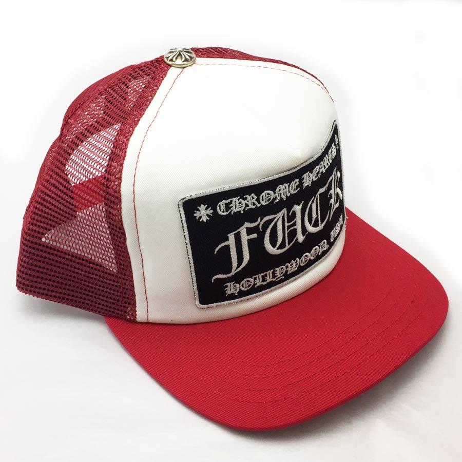 【新品】クロムハーツ Chrome Hearts 小物(アパレル系) トラッカーキャップ FUCK レッドxホワイト コットンxポリエステルxシルバー925 帽子 メンズ 【セール】 - v41217