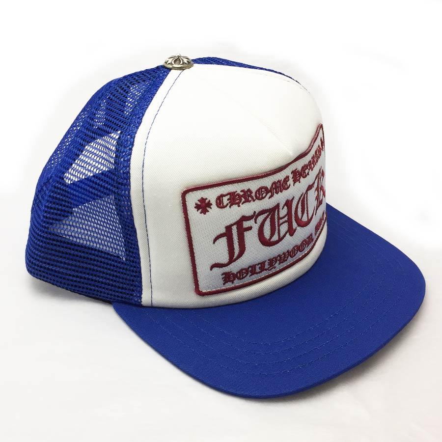 【新品】クロムハーツ Chrome Hearts 小物(アパレル系) トラッカーキャップ FUCK ブルーxホワイト コットンxポリエステルxシルバー925 帽子 メンズ 【セール】 - v41219