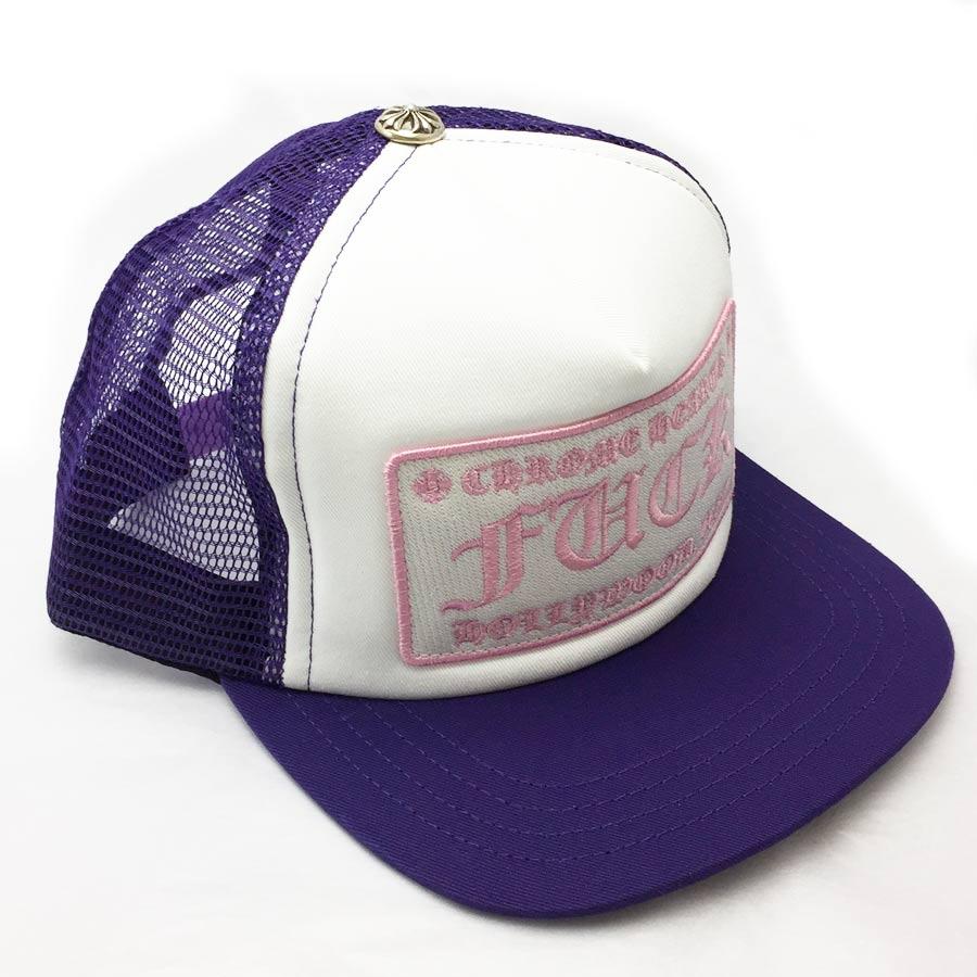【新品】クロムハーツ Chrome Hearts 小物(アパレル系) トラッカーキャップ FUCK パープルxホワイトxピンク コットンxポリエステルxシルバー925 帽子 メンズ 【セール】 - v41223