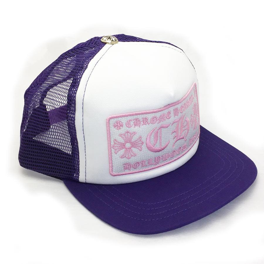 【新品】クロムハーツ Chrome Hearts 小物(アパレル系) トラッカーキャップ CHプラス パープルxホワイトxピンク コットンxポリエステルxシルバー925 帽子 メンズ 【セール】 - v41225