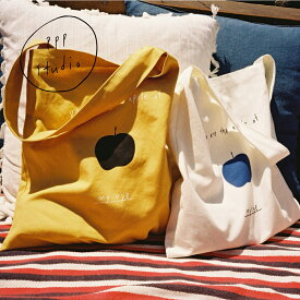 pppstudio apple bag トートバッグ エコバッグ レディース 韓国 韓国ブランド 丈夫 しっかり ファブリック コットン 布 バッグ サブバッグ 手提げ 買い物 通勤 通学 おしゃれ 日本 販売 ギフト プレゼント