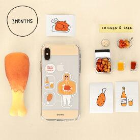3MONTHS No.12 iPhone Case チキンとビール屋さん クリアケース iPhone 11 11pro XS X iphoneケース 耐衝撃 アイフォンケース キャラクター アイフォン ケース レディース 韓国 韓国ブランド 韓国雑貨 かわいい おしゃれ 日本 販売 ギフト プレゼント