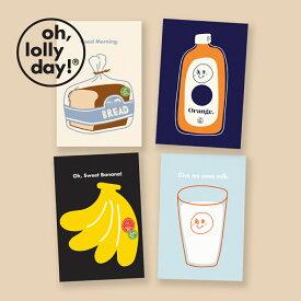 【合計1,100円以上で送料無料】 O,LD! POST CARD 4枚セット oh lolly day モンナニ ポストカード キャラクター レディース 韓国 ブランド 雑貨 オーロリーデイ かわいい おしゃれ oh lolly day オー ロリー デイ 日本 販売
