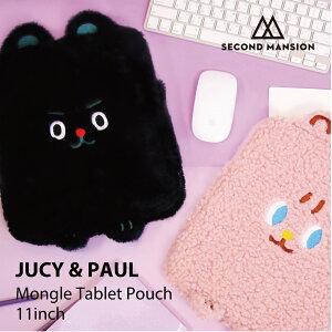 【NEW!】JUCY&PAUL MONGLE TABLET POUCH 11インチ ポーチ タブレット iPadポーチ iPadケース iPad Case モコモコ 文具 レディース 韓国 ブランド 雑貨 かわいい セカンドマンション 日本 販売 ギフト プレゼン