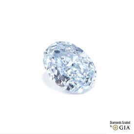天然カラーダイヤモンド タイプ2B OVAL ファンシーライトブルー 0.072ct Fancy Light Blue SI1 蛍光性NONE GIA+CGLソーティング付