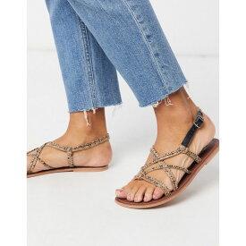 ウエアハウス レディース サンダル シューズ Warehouse knotted strappy sandals in snake Snake