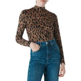ホイッスルズ レディース カットソー トップス Animal Print Mock Neck Top Leopard Print