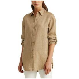 ラルフローレン レディース シャツ トップス Roll-Tab-Sleeve Linen Shirt Spring Khaki
