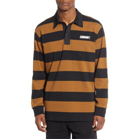 カーハート メンズ ポロシャツ トップス Carhartt Work In Progress Easton Stripe Long Sleeve Rugby Polo Easton Stripe/ Brown / Black